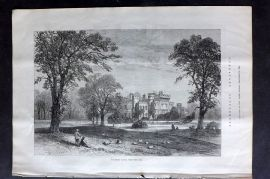 ILN 1880 Antique Print. Hawarden Castle, from the Park. Flintshire, Wales